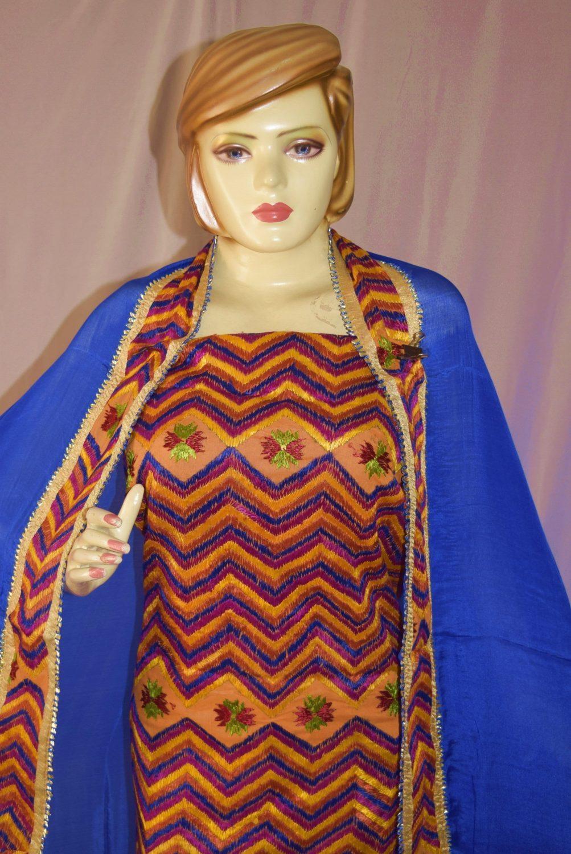 Hand Embroidered PHULKARI Salwar kameez suit CHINON DUPATTA F0684 3