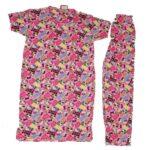 Fluorescent Pink Pure Cotton Soft Hosiery Fabric Ladies Night Wear  Night Suit NS051