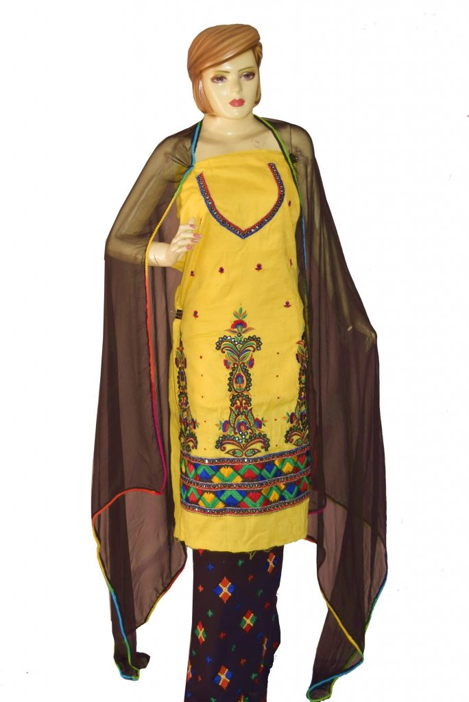 Designer Embroidery 100% cotton FULL PATIALA Salwar Suit CHIFFON Dupatta RM328