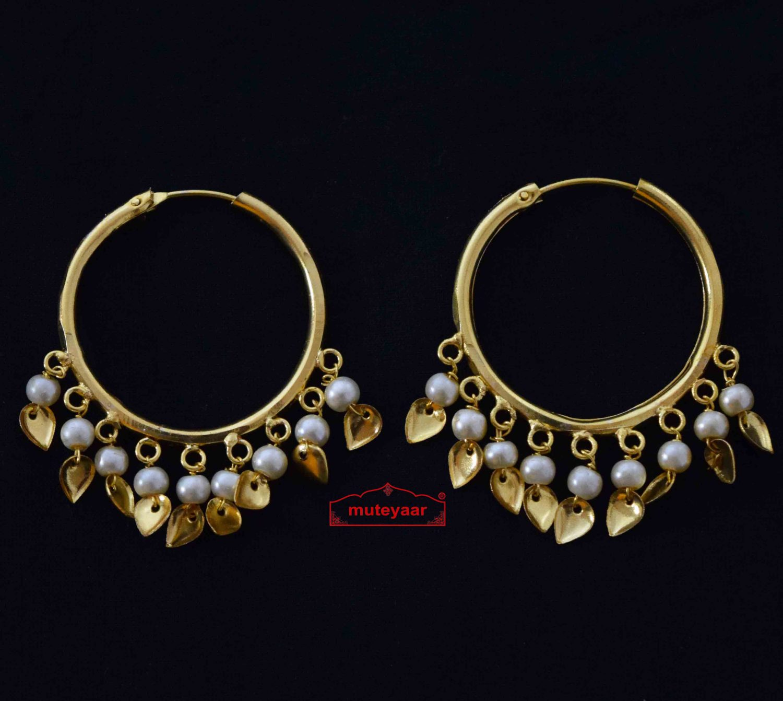 Traditional Punjabi Gold Polished Ear Rings Bali Moti Patti Set J0214 1