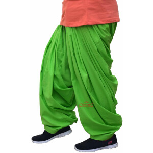 100% Pure Cotton Parrot Green Patiala Shalwar
