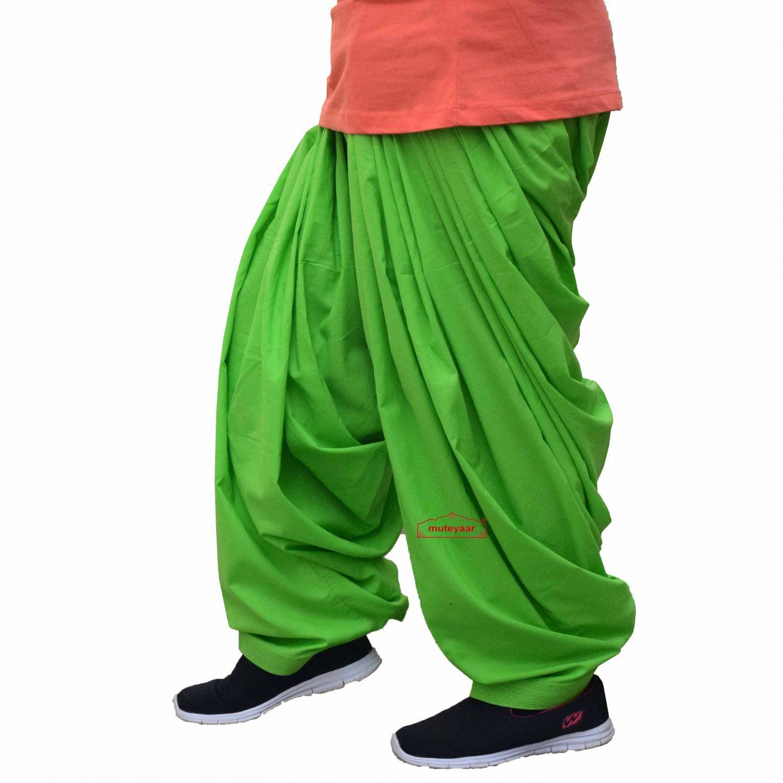 100% Pure Cotton Parrot Green Patiala Shalwar 1