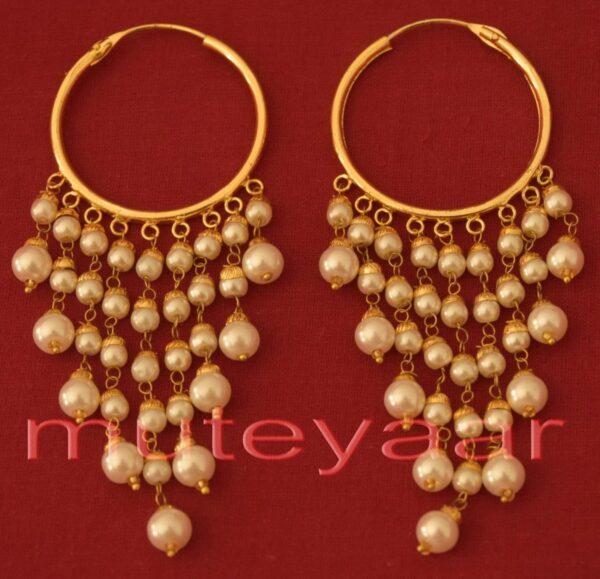 Traditional Punjabi Handmade Gold Plated Ear Rings Baliyyan set with White Beads J0215