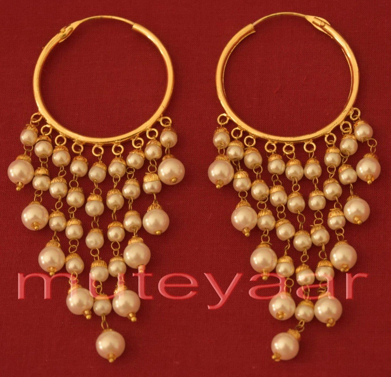 Traditional Punjabi Handmade Gold Plated Ear Rings Baliyyan set with White Beads J0215 1
