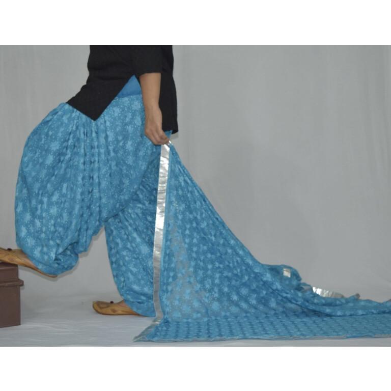 Firozi Turquoise PHULKARI Embroidered Patiala Salwar with matching Dupatta PHS25