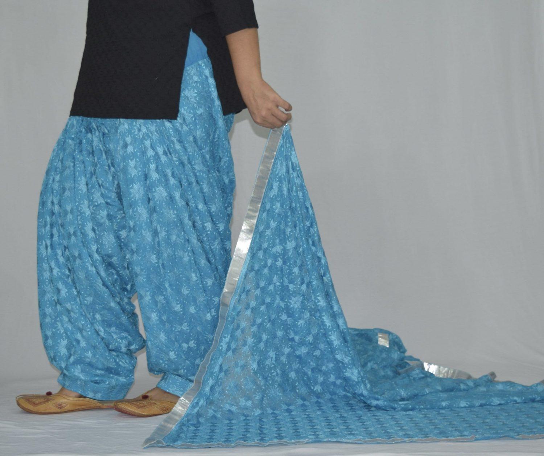 Firozi Turquoise PHULKARI Embroidered Patiala Salwar with matching Dupatta PHS25 4