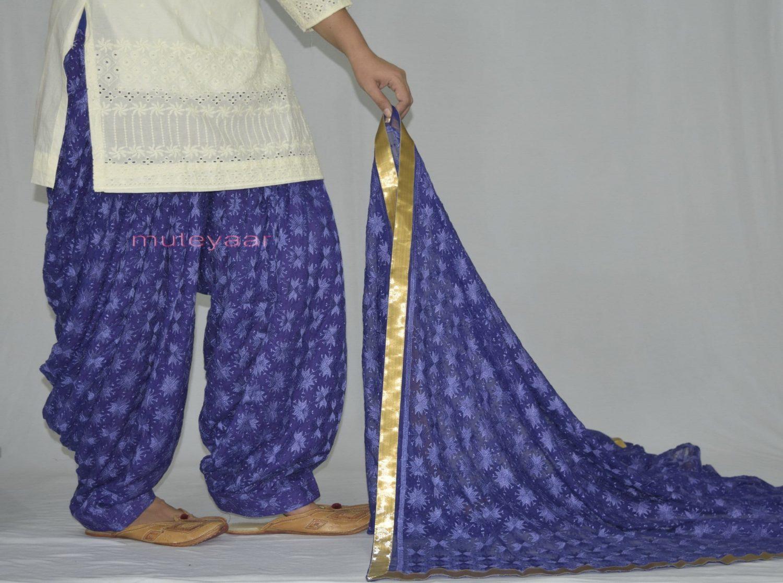 Royal Blue PHULKARI Embroidered Patiala Salwar with matching Dupatta PHS26 3
