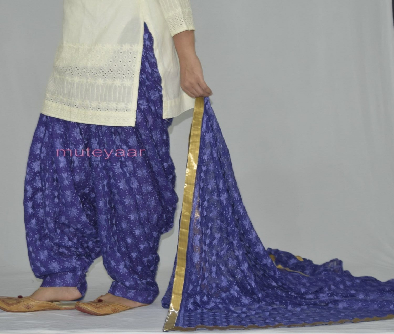 Royal Blue PHULKARI Embroidered Patiala Salwar with matching Dupatta PHS26 4