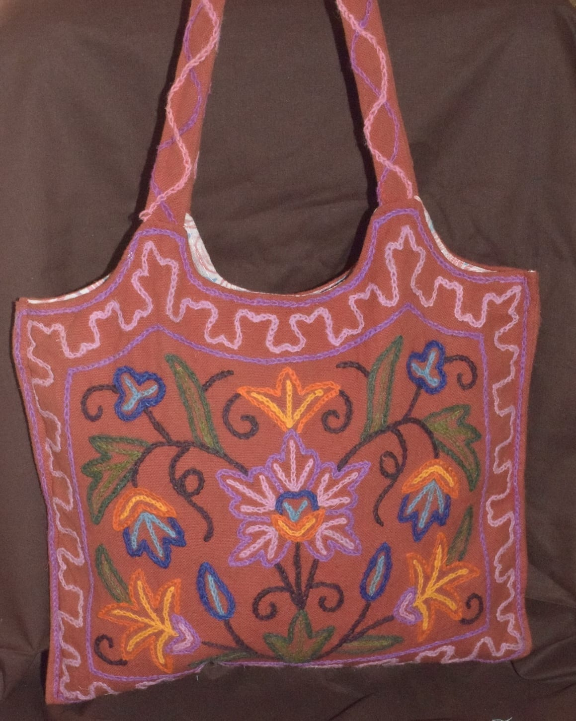 Kashmiri Hand made embroidered Office / College / Shopping Bag HB115 2