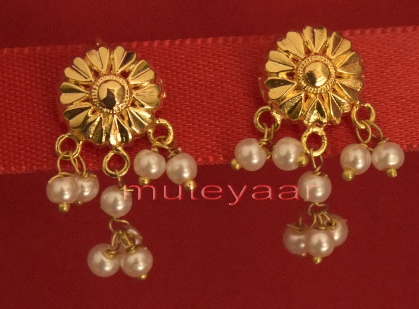 Hand Made Gold Plated Punjabi Traditional Jewellery Earrings Tops J0217 1