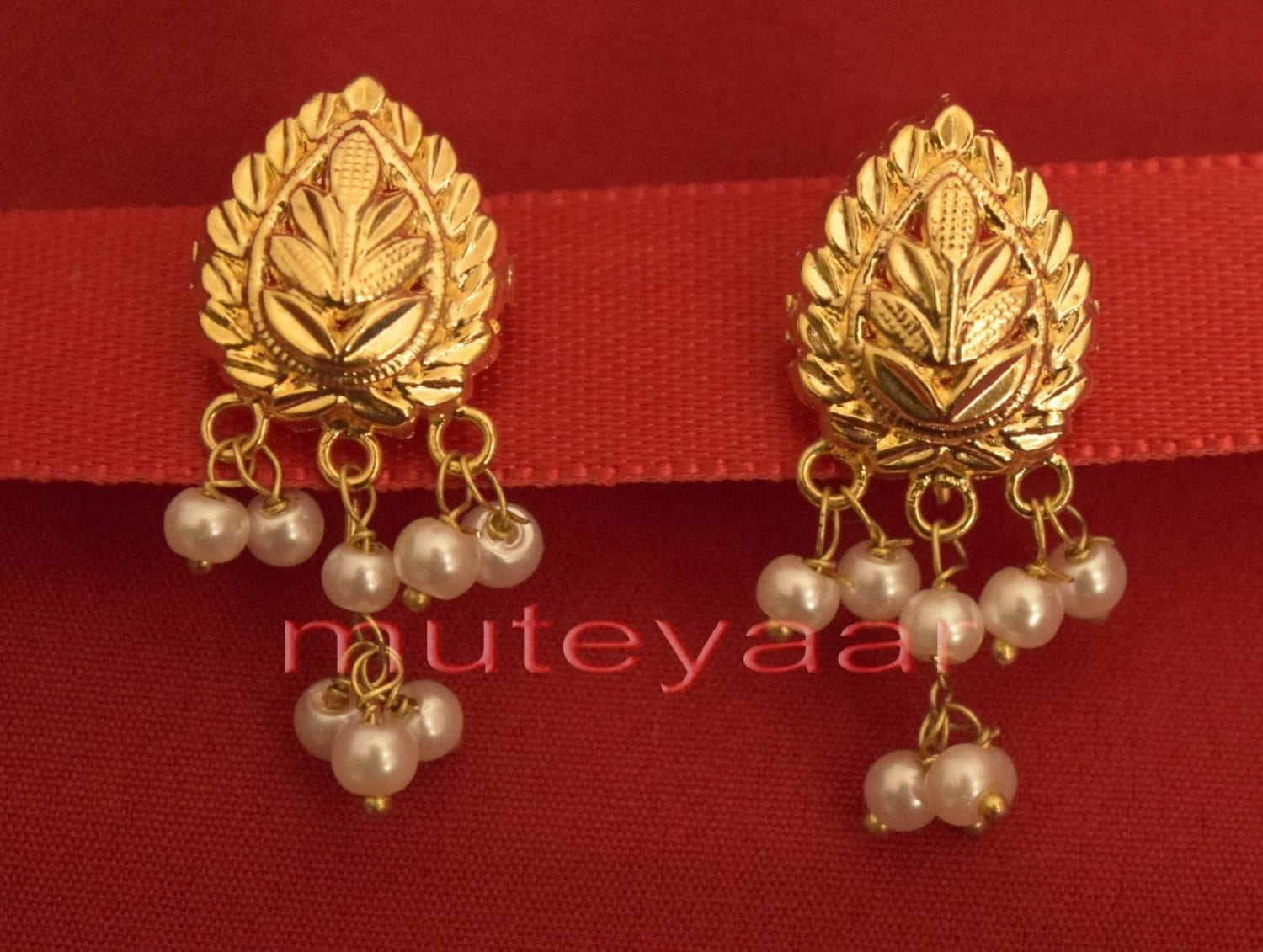 Hand Made Gold Plated Punjabi Traditional Jewellery Earrings Tops J0218 1