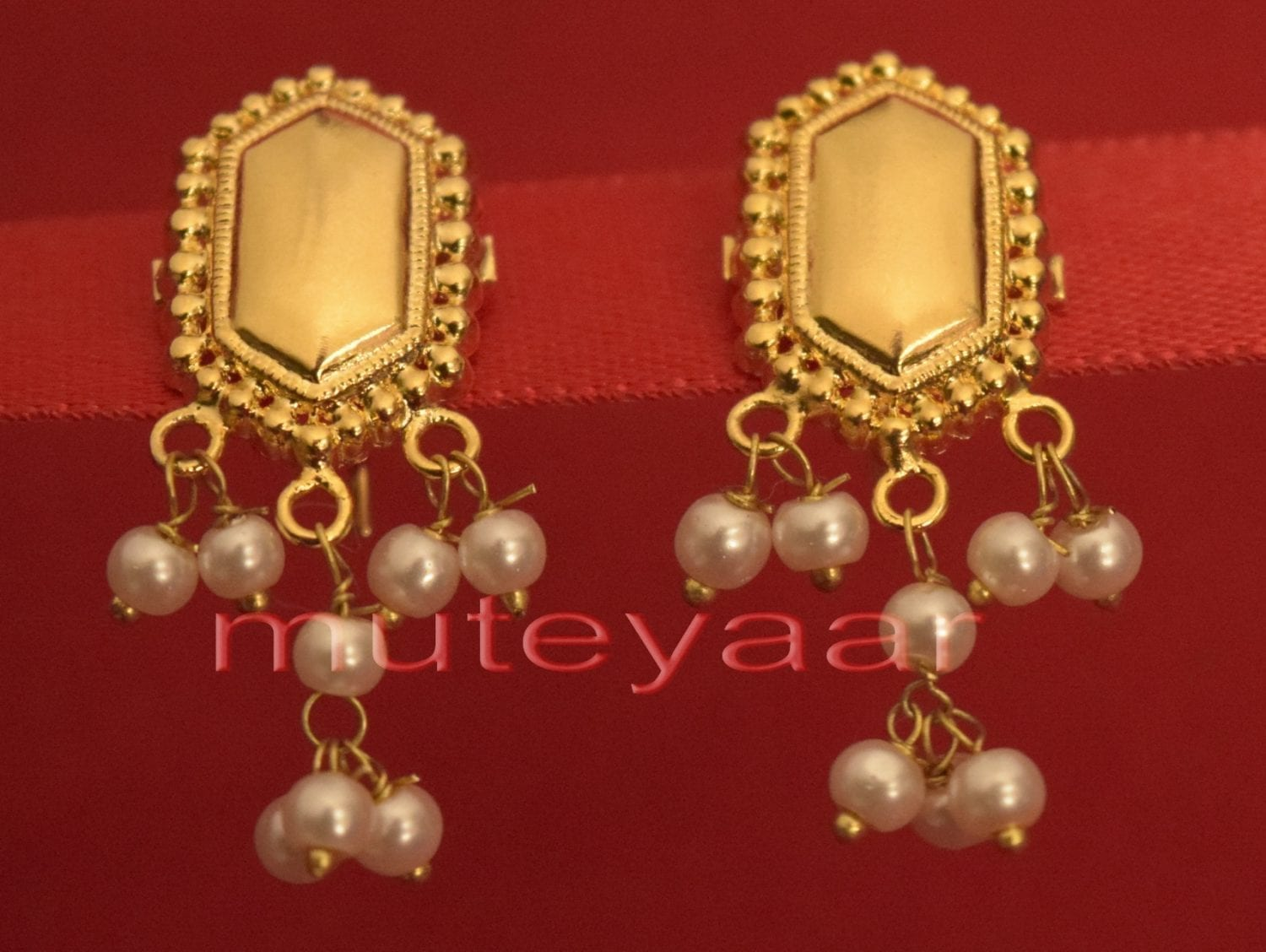 Hand Made Gold Plated Punjabi Traditional Jewellery Earrings Tops J0223 1