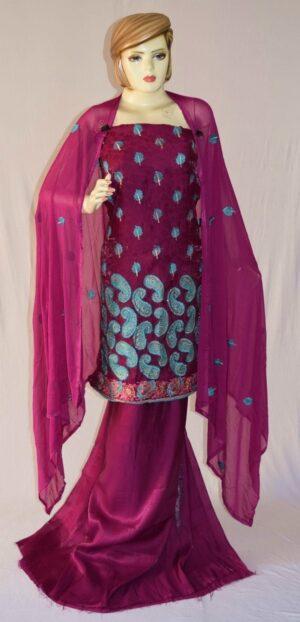 Self Makhmali M/C embroidered Salwar kameez Dupatta Suit M0320