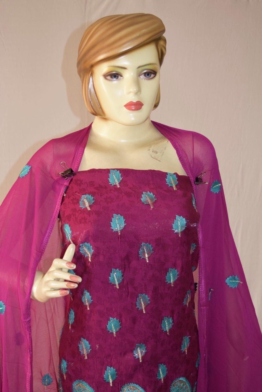 Self Makhmali M/C embroidered Salwar kameez Dupatta Suit M0320 2