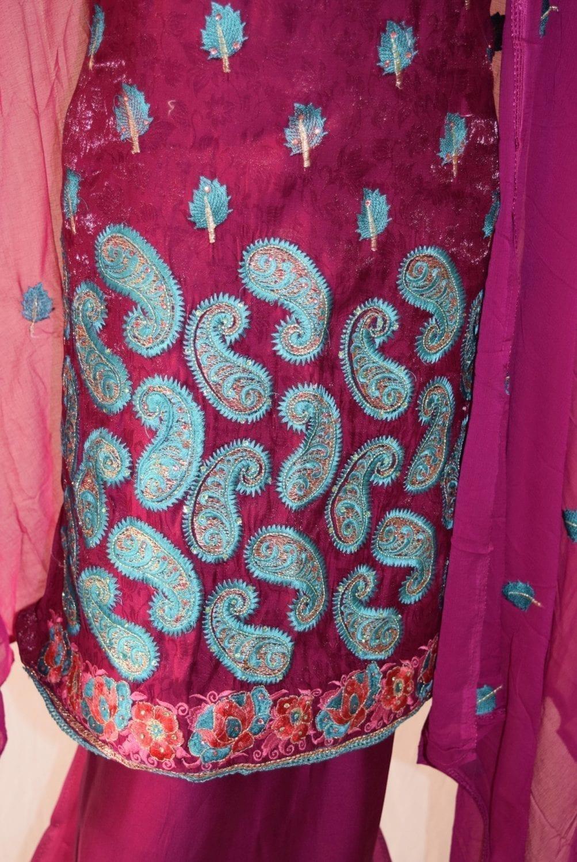 Self Makhmali M/C embroidered Salwar kameez Dupatta Suit M0320 3