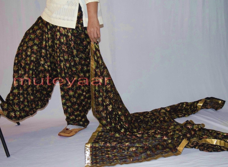 Black Multicolour PHULKARI Patiala Salwar with matching Dupatta PHS27 3