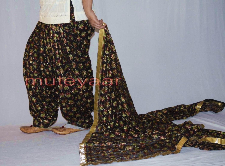 Black Multicolour PHULKARI Patiala Salwar with matching Dupatta PHS27 4