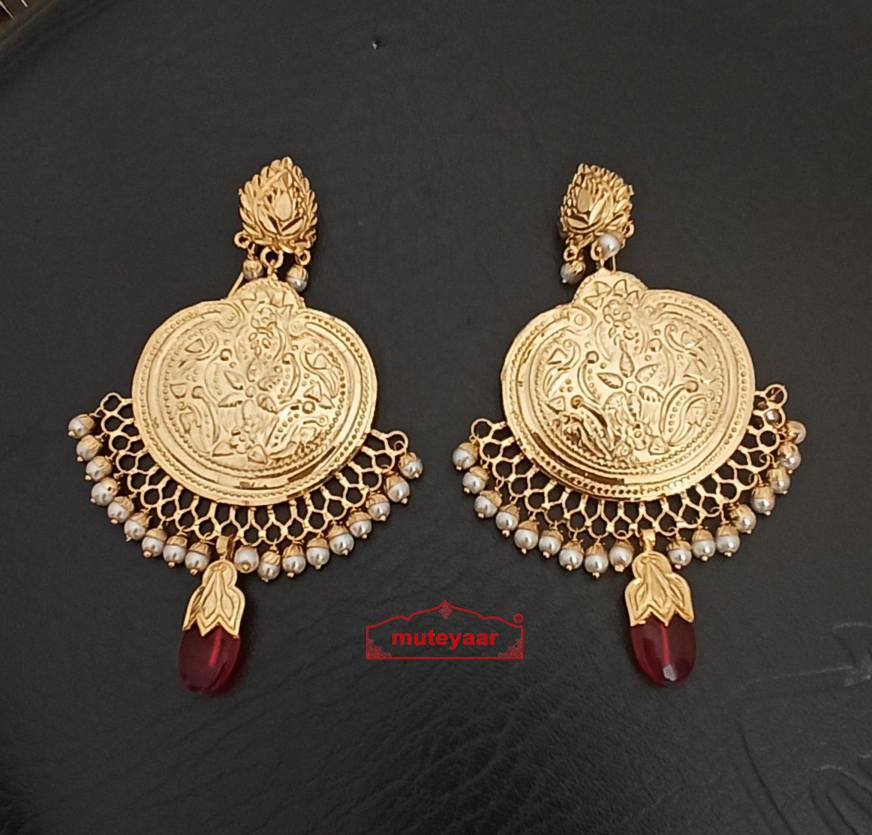 Punjabi Traditional Jewellery Handmade Gold Plated Earrings J0246 1