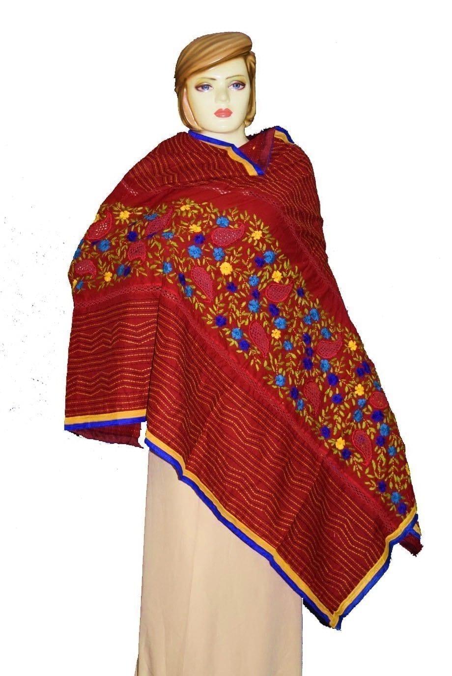 Designer Cotton Jali Hand Embroidered Partywear Dupatta D0760 1