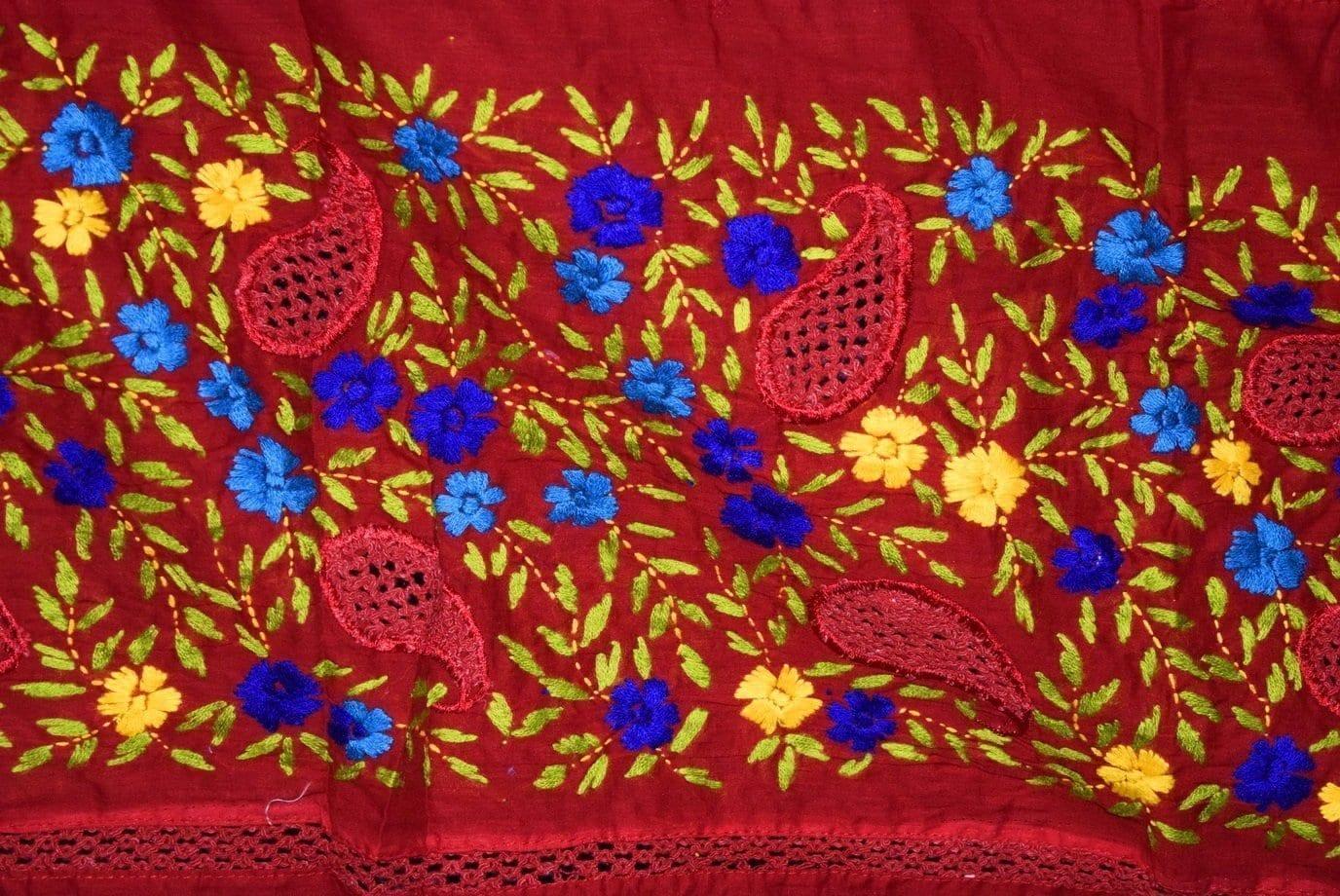 Designer Cotton Jali Hand Embroidered Partywear Dupatta D0760 2