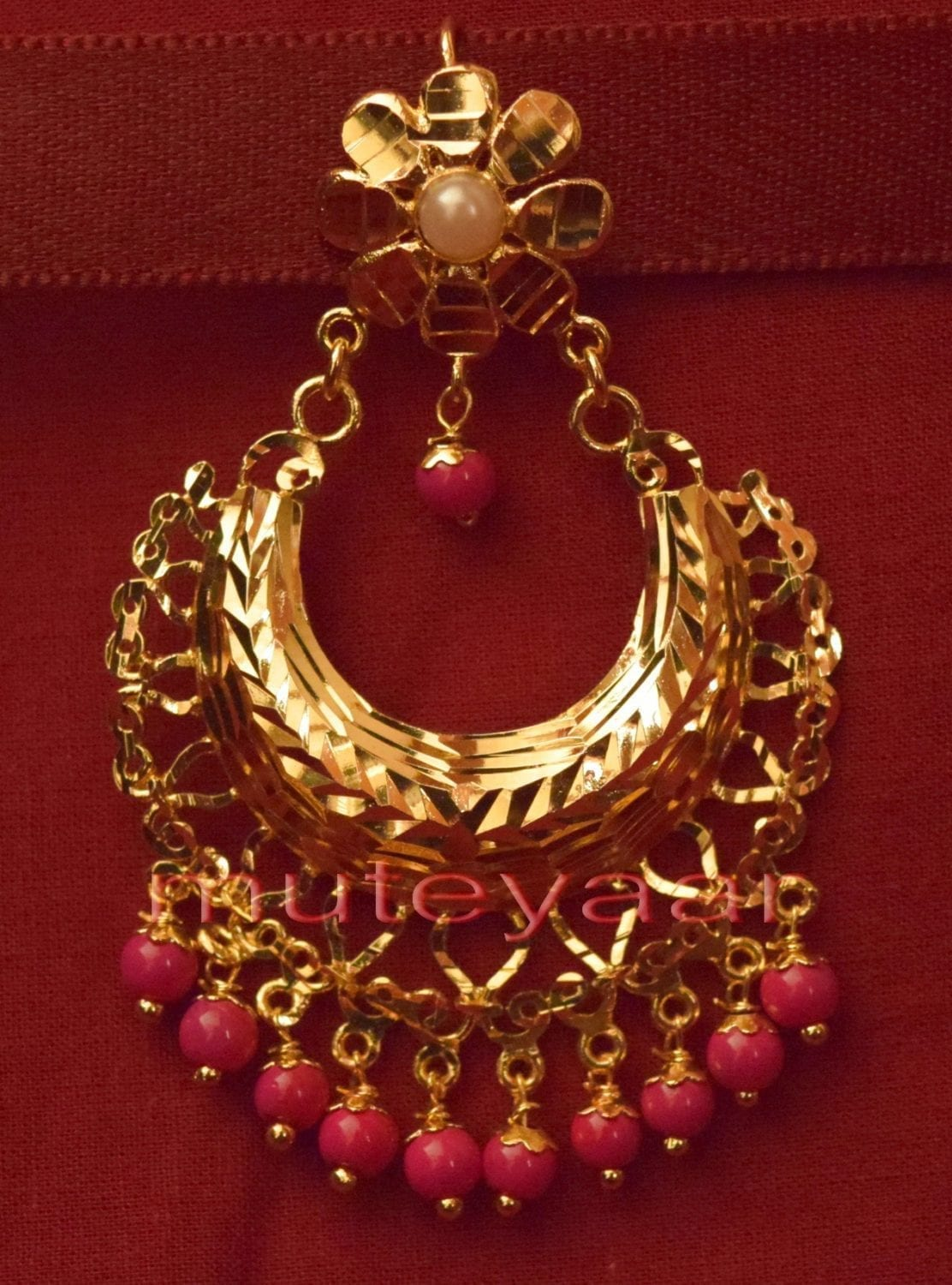 Gold Plated Traditional Punjabi Jewellery Earrings + Tikka set J0232 2