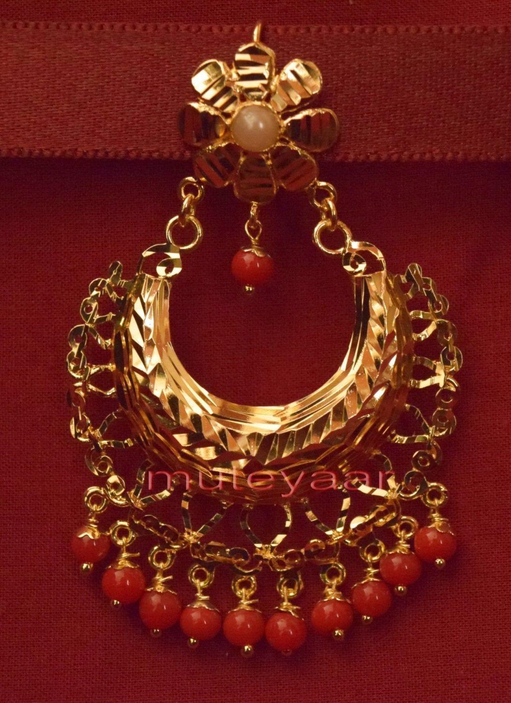 Gold Plated Traditional Punjabi Jewellery Earrings + Tikka set J0233 2