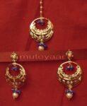 Gold Plated Traditional Punjabi Jewellery Earrings + Tikka set J0234