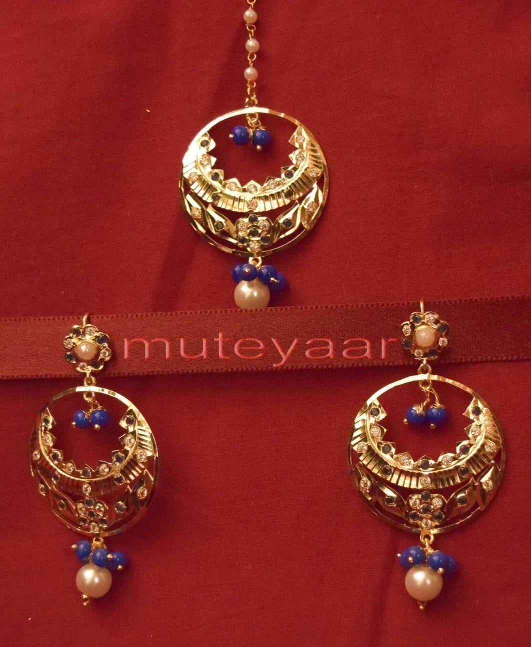 Gold Plated Traditional Punjabi Jewellery Earrings + Tikka set J0234 1