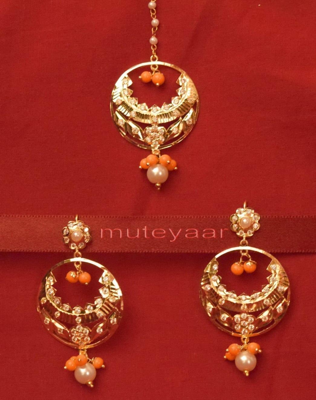Gold Plated Traditional Punjabi Jewellery Earrings + Tikka set J0238 1