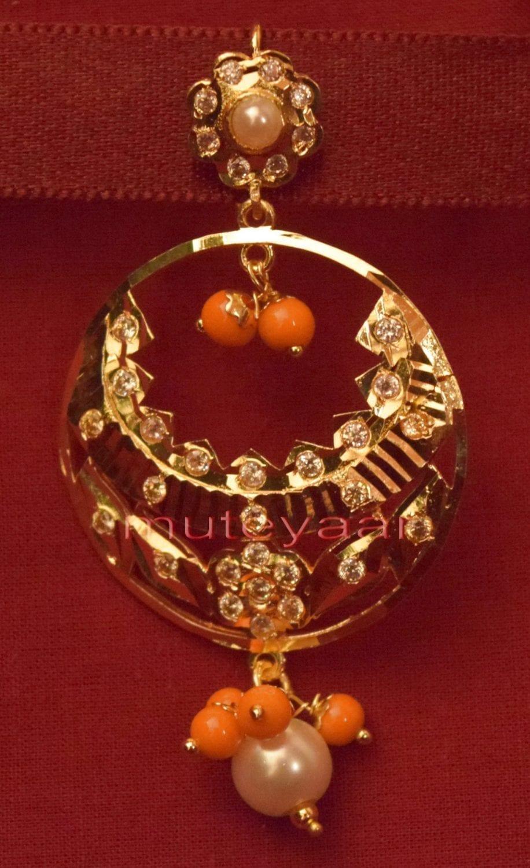 Gold Plated Traditional Punjabi Jewellery Earrings + Tikka set J0238 2