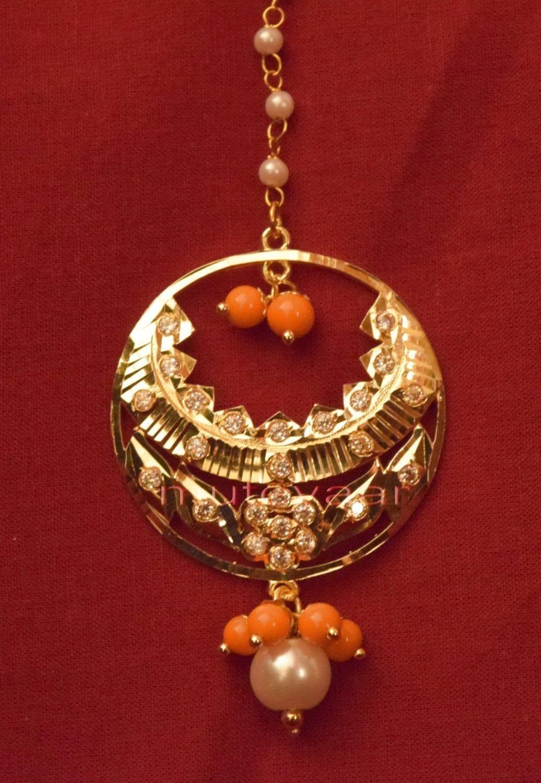 Gold Plated Traditional Punjabi Jewellery Earrings + Tikka set J0238 3