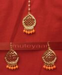 Gold Plated Traditional Punjabi Jewellery Earrings + Tikka set J0240