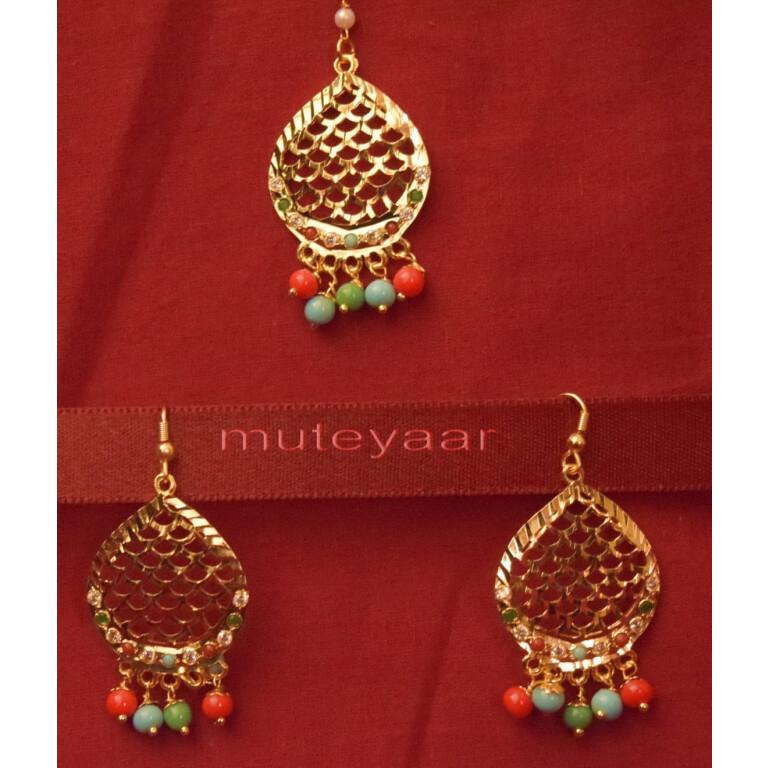 Gold Plated Traditional Punjabi Jewellery Earrings + Tikka set J0243