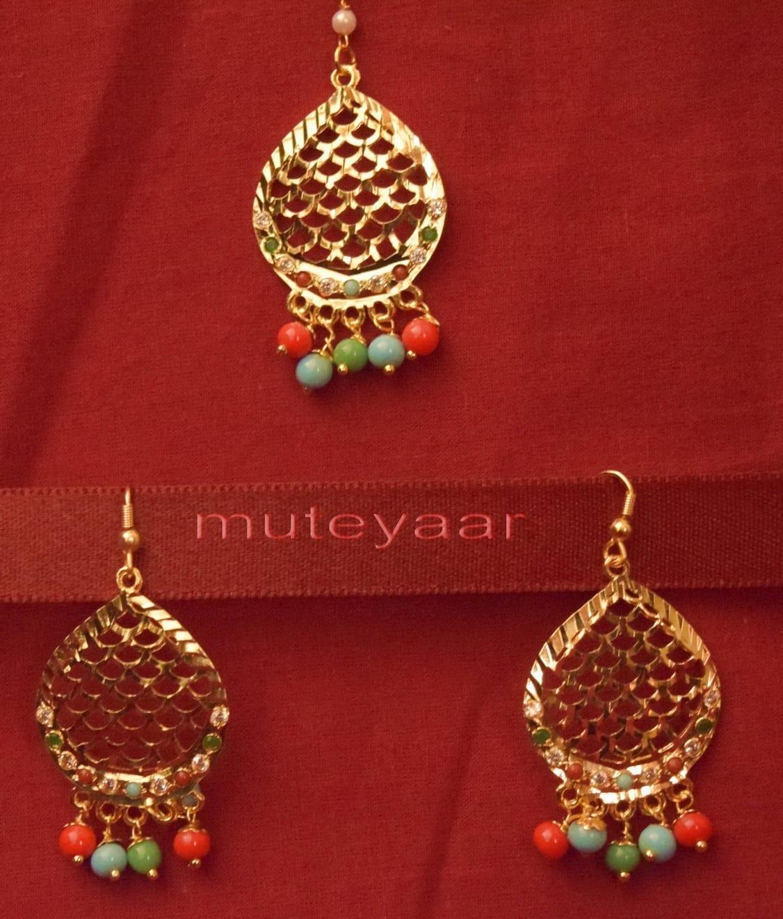 Gold Plated Traditional Punjabi Jewellery Earrings + Tikka set J0243 1