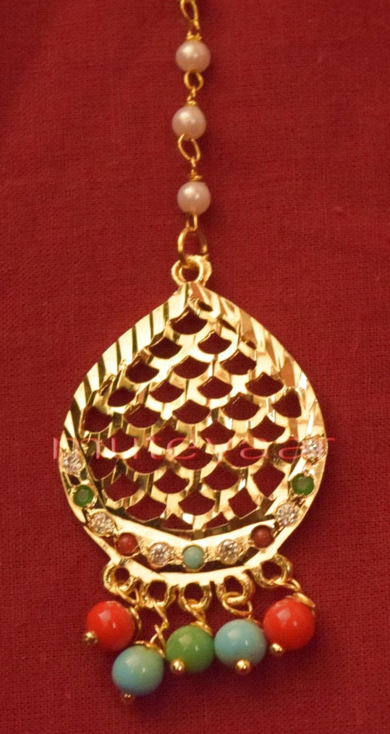 Gold Plated Traditional Punjabi Jewellery Earrings + Tikka set J0243 3