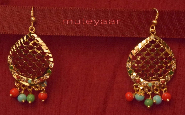 Gold Plated Traditional Punjabi Jewellery Earrings + Tikka set J0243 4