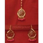 Gold Plated Traditional Punjabi Jewellery Earrings + Tikka set J0244