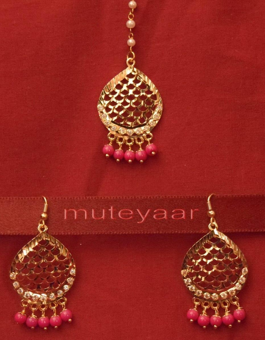 Gold Plated Traditional Punjabi Jewellery Earrings + Tikka set J0244 1
