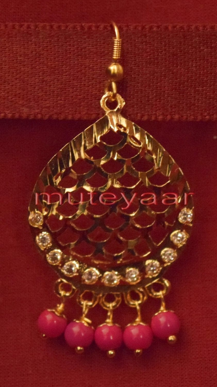 Gold Plated Traditional Punjabi Jewellery Earrings + Tikka set J0244 2