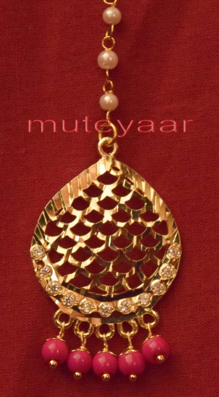 Gold Plated Traditional Punjabi Jewellery Earrings + Tikka set J0244 4