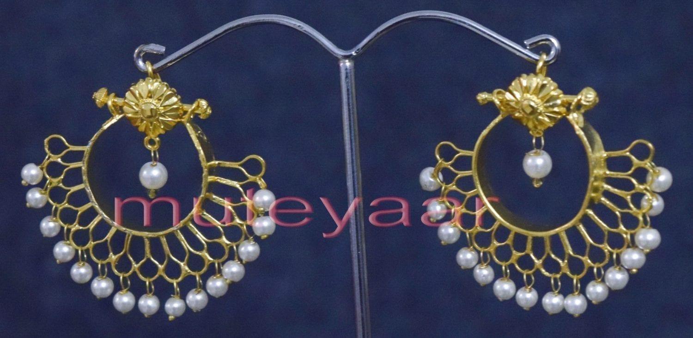 Hand Made Gold Plated Traditional Punjabi Jewellery Earrings Jhumka J0248 1