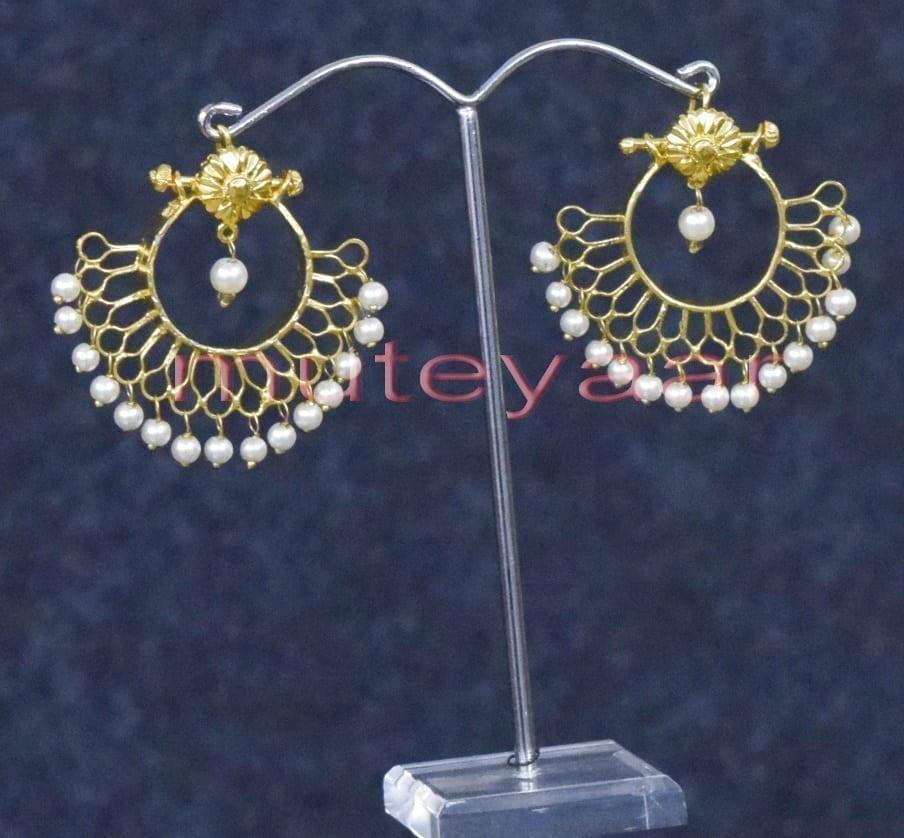 Hand Made Gold Plated Traditional Punjabi Jewellery Earrings Jhumka J0248 2