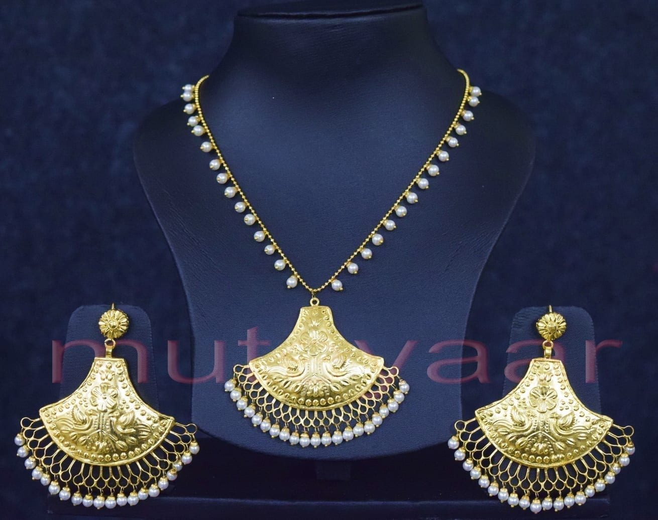 24 Ct. Gold Plated Traditional Punjabi Handmade jewellery Pendant Earrings set J0250 1