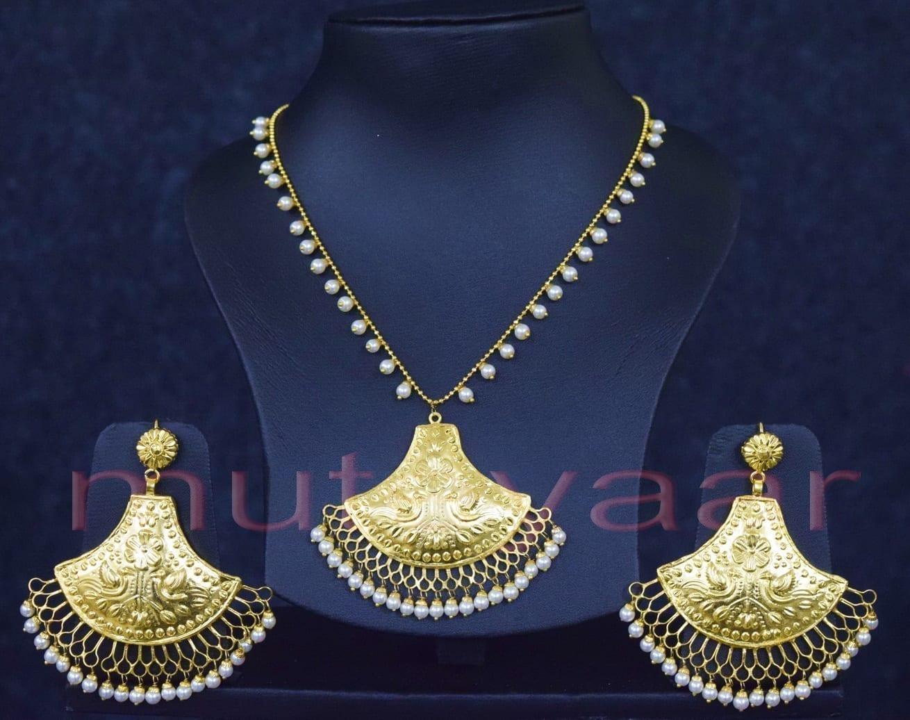 24 Ct. Gold Plated Traditional Punjabi Handmade jewellery Pendant Earrings set J0250 1