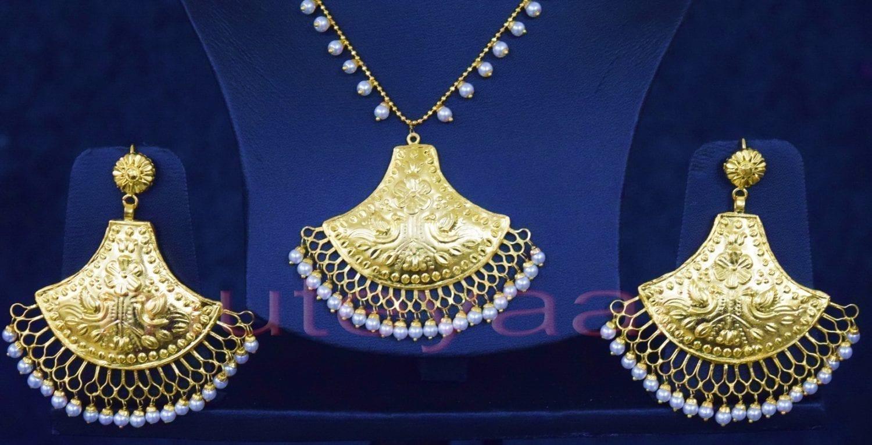 24 Ct. Gold Plated Traditional Punjabi Handmade jewellery Pendant Earrings set J0250 2