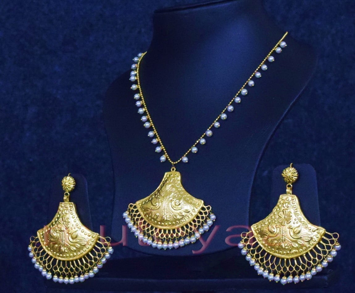 24 Ct. Gold Plated Traditional Punjabi Handmade jewellery Pendant Earrings set J0250 3