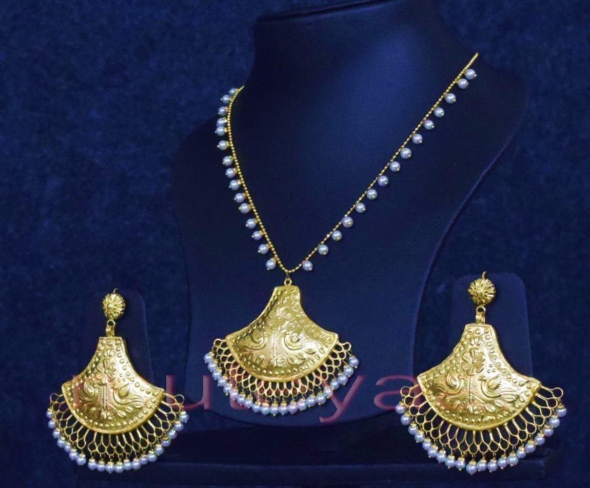 24 Ct. Gold Plated Traditional Punjabi Handmade jewellery Pendant Earrings set J0250 3