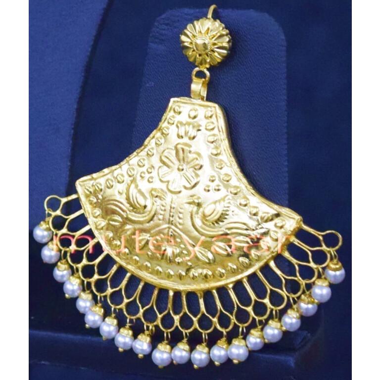 24 Ct. Gold Plated Traditional Punjabi Handmade jewellery Pendant Earrings set J0250