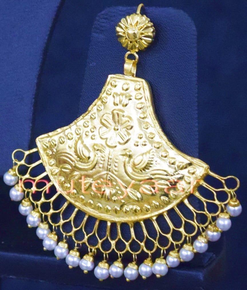 24 Ct. Gold Plated Traditional Punjabi Handmade jewellery Pendant Earrings set J0250 4
