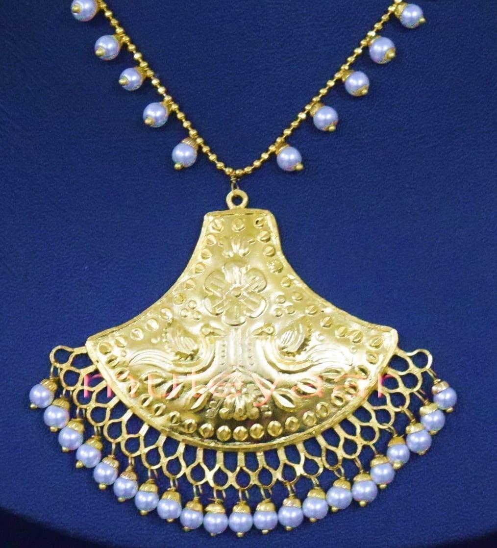 24 Ct. Gold Plated Traditional Punjabi Handmade jewellery Pendant Earrings set J0250 5